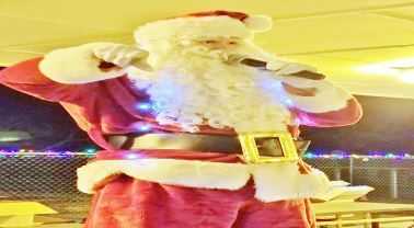 Santa Claus talking in microphone