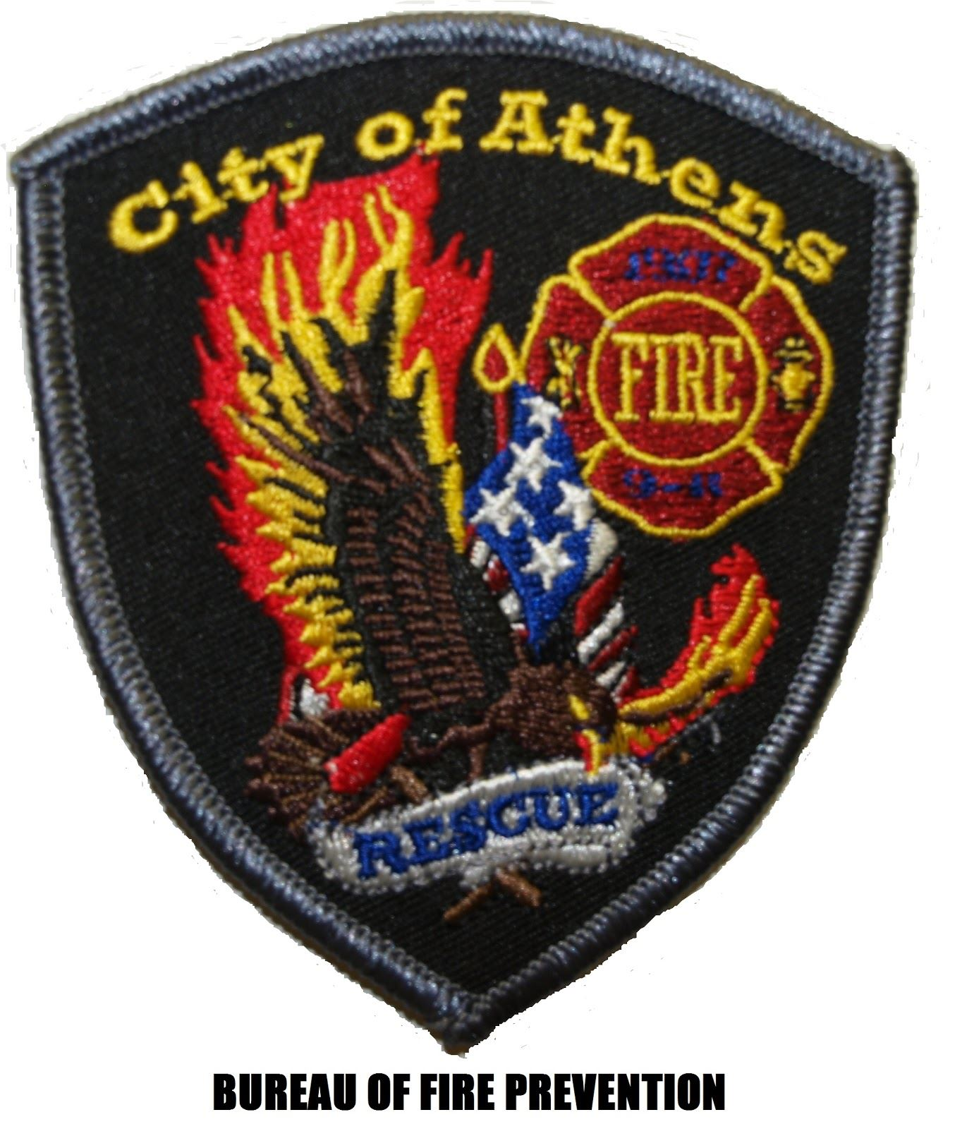 Bureau of Fire Prevention Badge with eagle and American flag