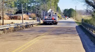 Crews work on Forrest Street