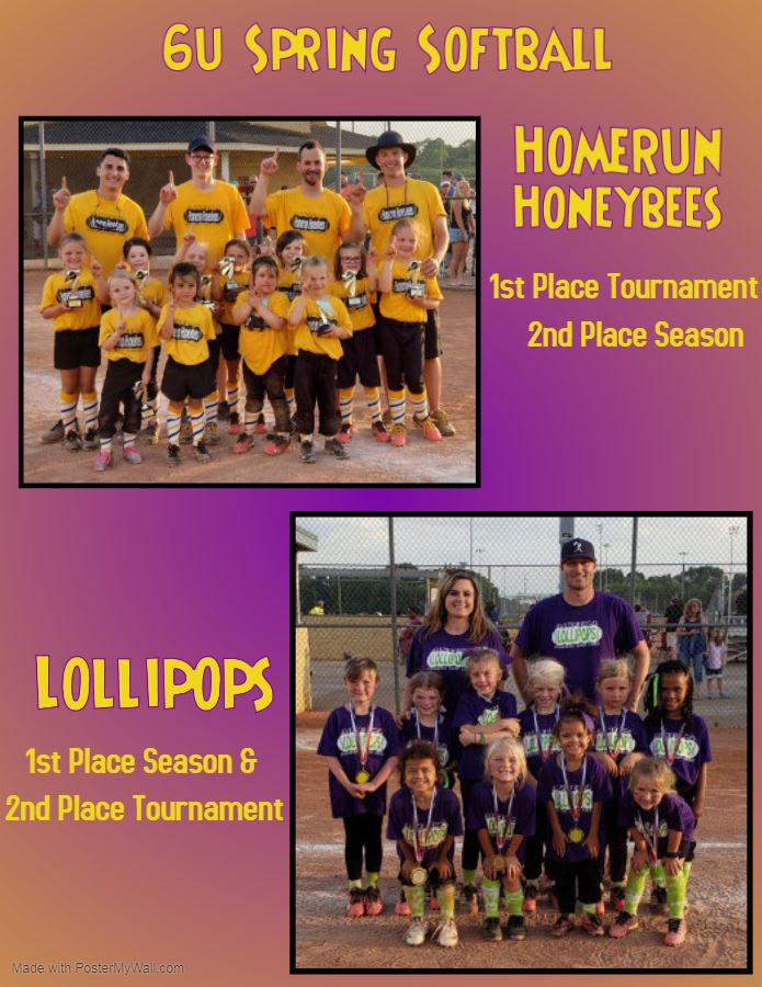 2019 Youth Spring Softball 6u Champions and Runner ups