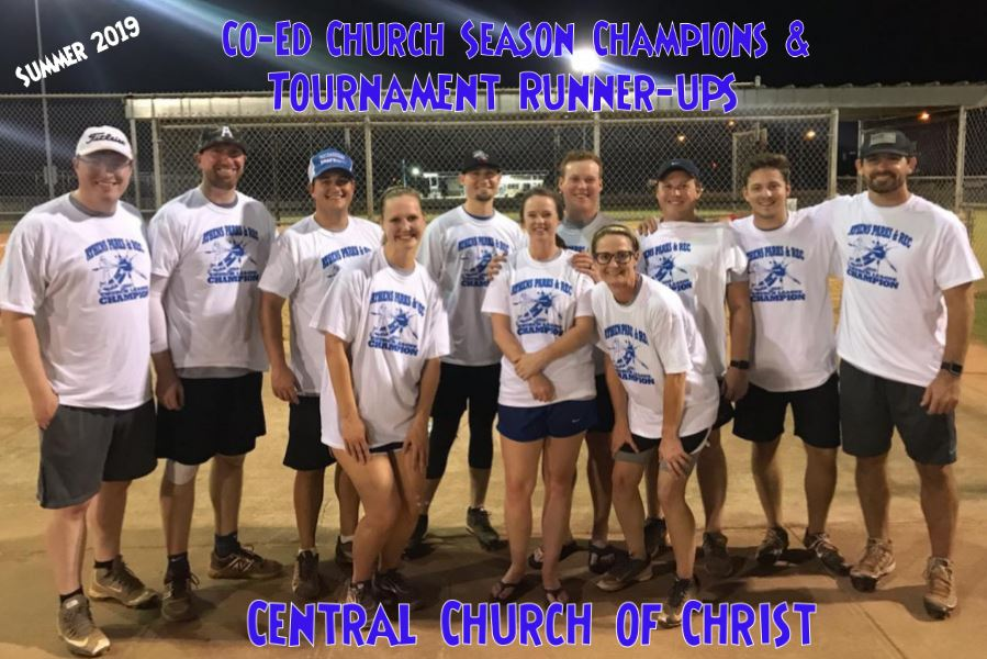 CoEd Church Season Champs and Tournament Runnerups Central COC Summer 2019