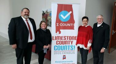 City and County officials with Census banner