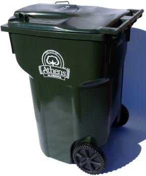 Dark Green Garbage Can  with decal
