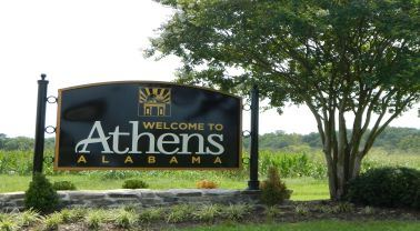 Athens welcome sign on highway