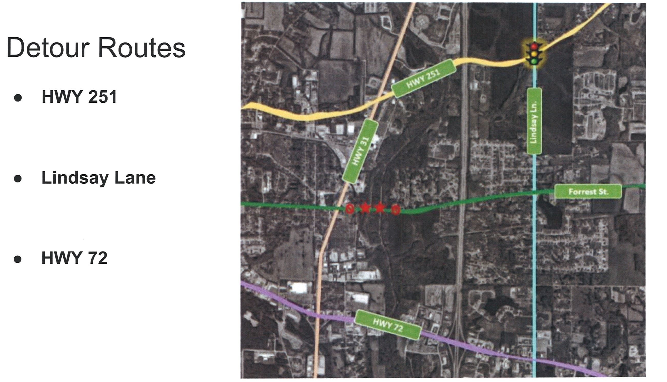 Detour routes for Forrest Street closure