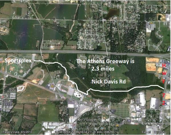 Greenway Walking Track aerial view